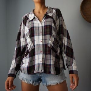 Zara Tartan Plaid Soft Dolman Sleeve Flannel